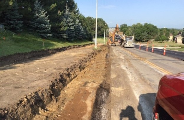 Excavation for sidewalk and curb gutter