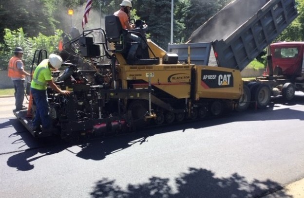 Paving North side paver and crew